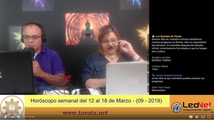 #Grabación – Horóscopo semanal (12 al 18 de Marzo de 2018) – Secretos de Távata(09-2018)